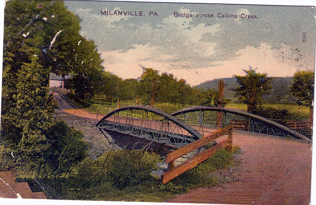 The bridge across Calkins Creek in Milanville, PA.