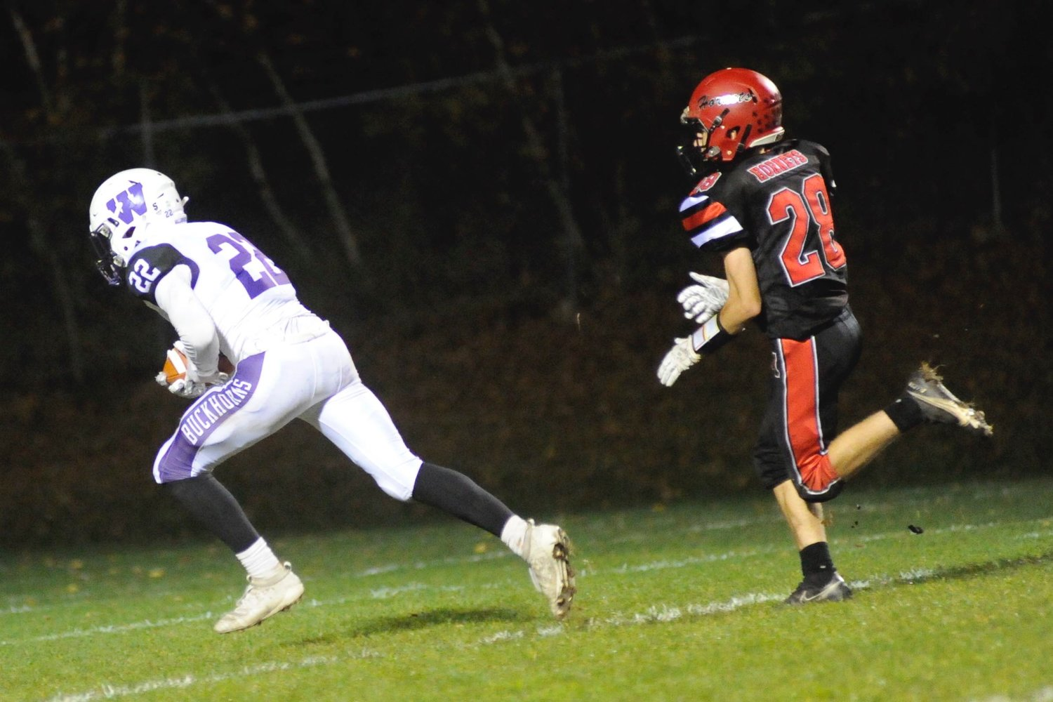 Touchdown bound. Wallenpaupack's TJ Schmalzle scores the first touchdown of the game on a 48-yard reception from QB Alex Gardsy in the second frame as Honesdale's Kage Southerton gives chase.