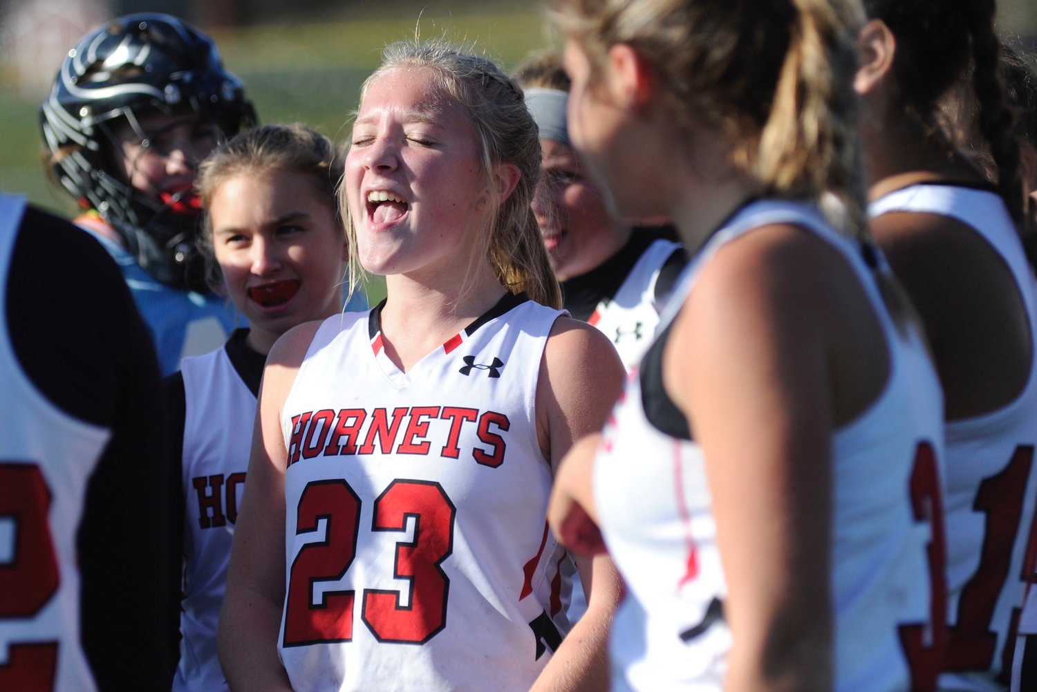 A joyful win. Honesdale's Claire Campen celebrates the semi-final victory with her teammates.