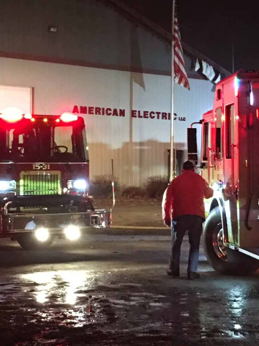 Five fire companies respond to a structure fire at American Electric on Nearing Road on Wednesday evening at approximately 5:30 p.m.