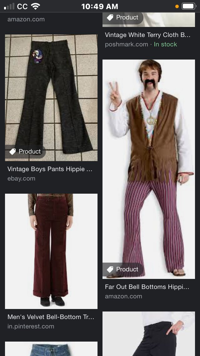 """I worked really hard on this outfit,"" my mother said in 1969. According to my Google image search for a Naugahyde vest and terry-cloth bell-bottoms, nowadays, it's called a costume."