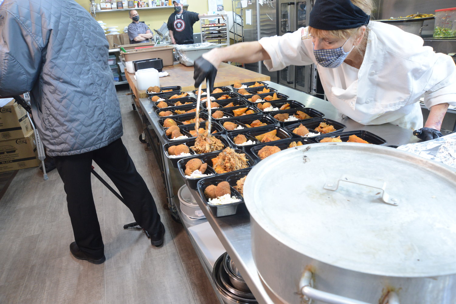 After the judges' meals, the Wallenpaupack culinary team had a slew of online takeout orders to fulfill.