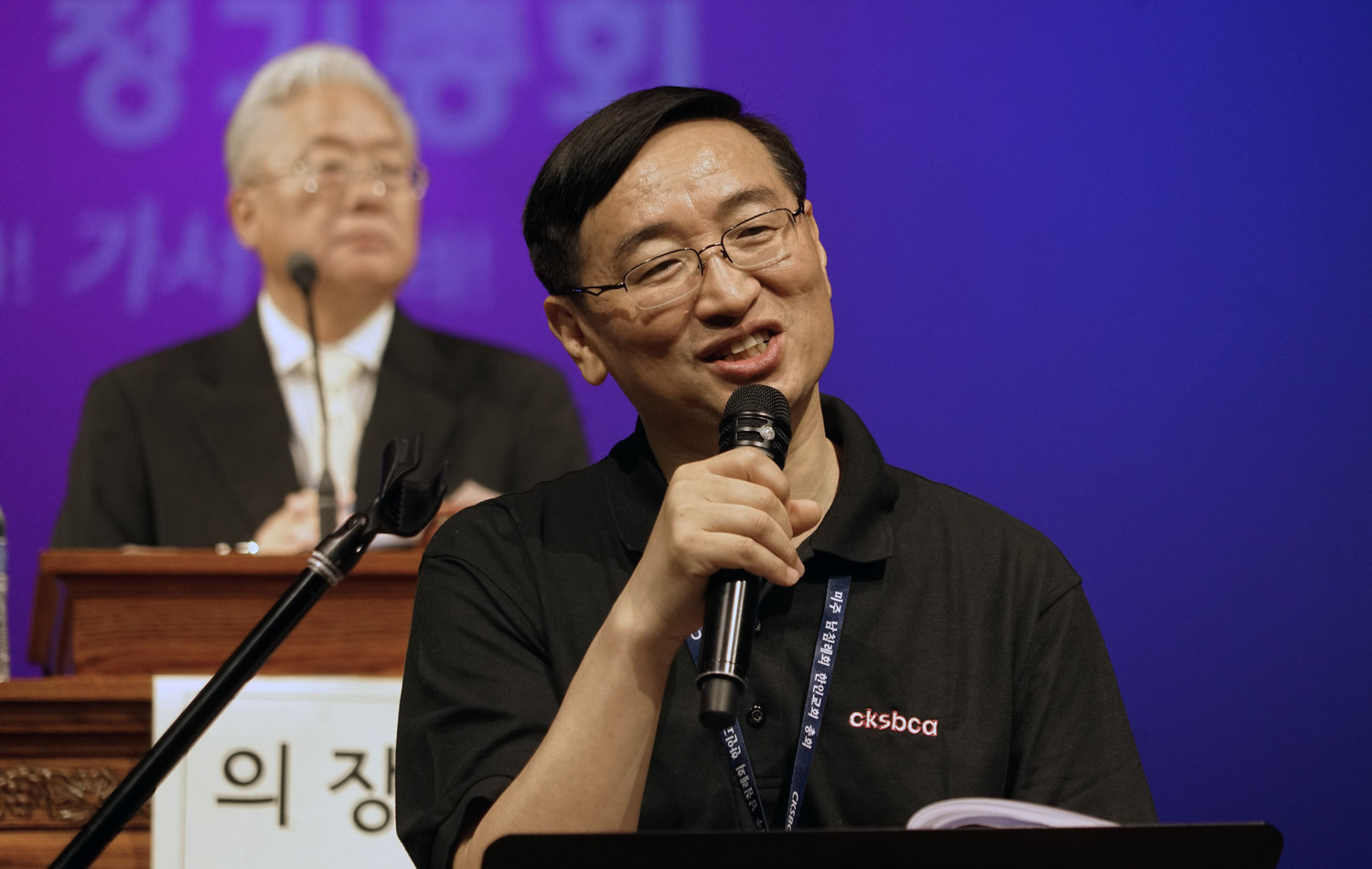 James Kang addresses the Council of Korean Southern Baptist Churches at the group's meeting in Dallas in June of 2018.