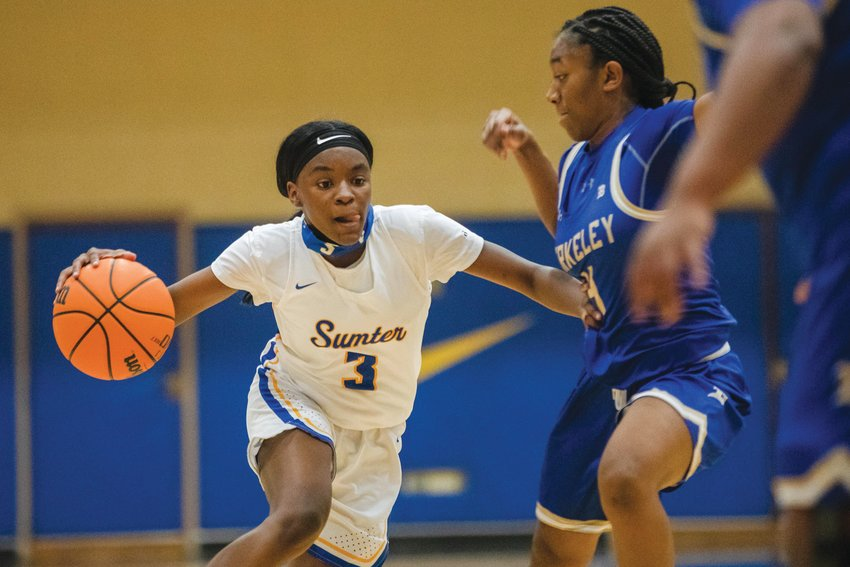 Sumter's Kiara Croskey (3) handles the ball during Sumter's 48-27 win over Berkeley in the SCHSL 5A state playoffs on Monday.