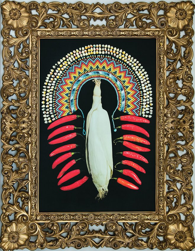 "PHOTO PROVIDED  ""Our Lady of the Corn"" by Yulian Martinez-Escobar, an adjunct professor of Spanish at the College of Charleston, is a colorful canvas that represents the Mexican peasants and Catholic faith. It is part of ""Ecos: Resonances of South Carolina Latino Stories"" on exhibit at the Sumter County Gallery of Art."