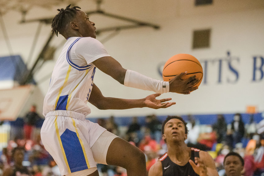 Scott's Branch guard Montrez Sinkler goes up for a layup during the Eagles' 70-46 win over Hannah-Pamplico in their quarterfinal matchup in the 1A state playoffs on Wednesday.