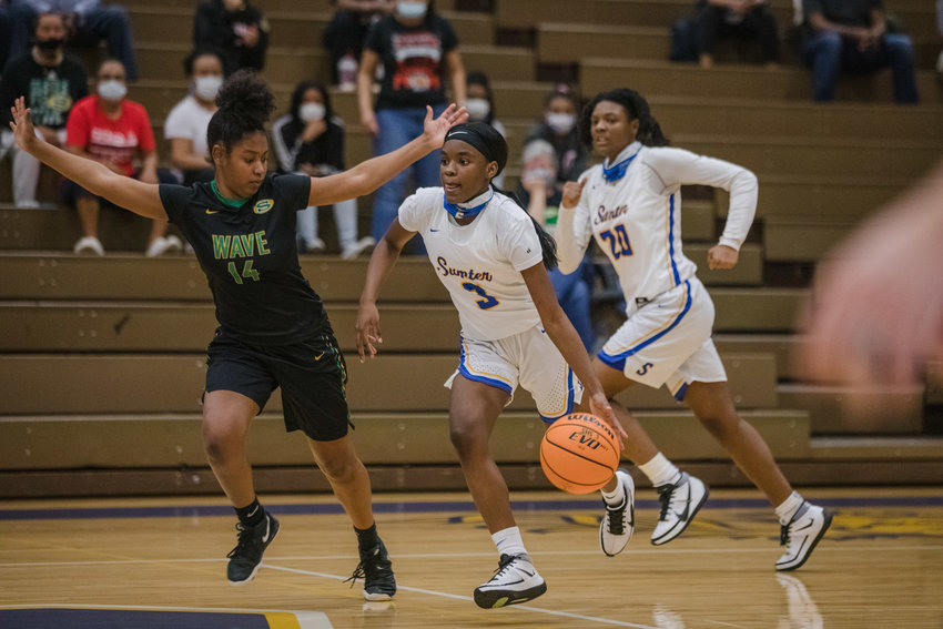 Sumter's Kiara Croskey (3) and the Lady Gamecocks will face Wando in the 5A lower state championship on Monday.