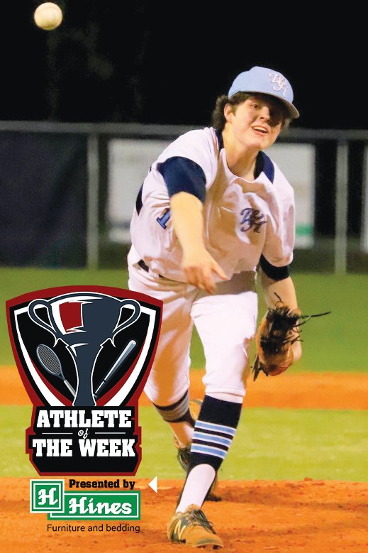 Wilson Hall's Britton Beasley won the Hines Furniture Athlete of the Week after pitching five innings of 1-hit ball in the Barons' 10-5 win over Porter-Gaud last week. Beasley struck out 10 batters in the Barons' 10-5 victory to open the season.