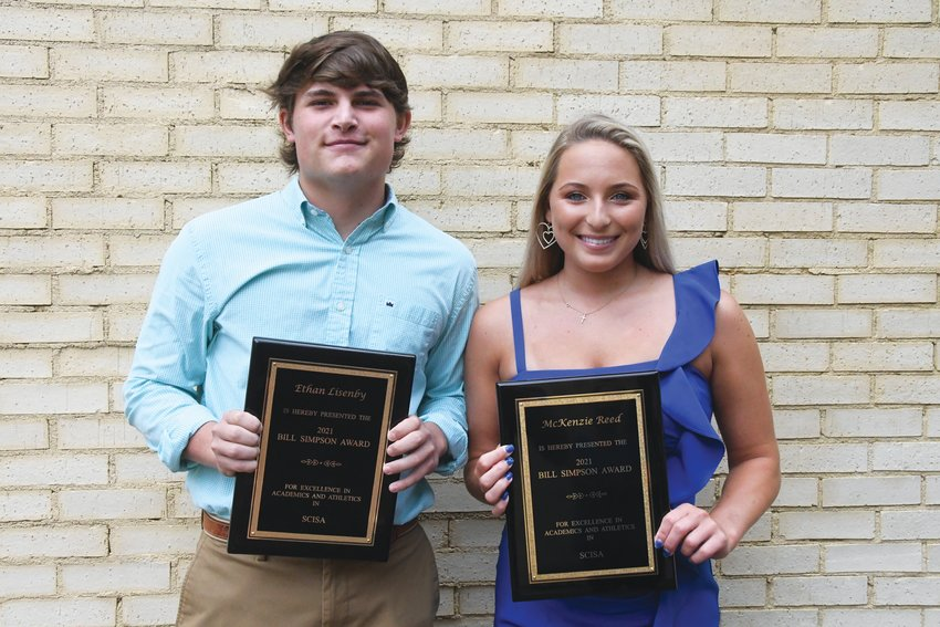 Thomas Sumter Academy's Ethan Lisenby, left, and Laurence Manning Academy's Brooke Reed each won the Bill Simpson Award, SCISA's highest honor, this year.