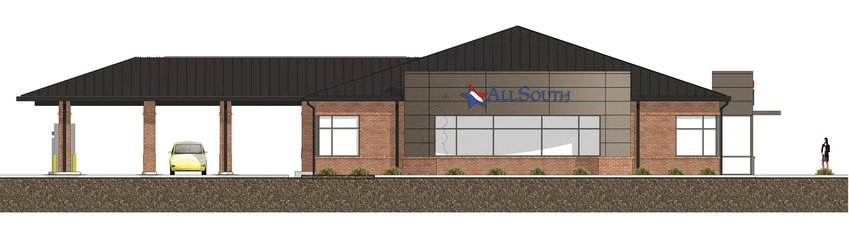 ARTIST RENDERING A new AllSouth Federal Credit Union branch is going up at 2830 Broad St., near Mason Road.