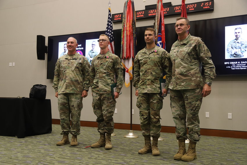 U.S. Army Central honored two soldiers, Sgt. Brandon Brantley and Spc. Omar Dacosta, with an awards ceremony Thursday after they won the USARCENT 2021 Best Warrior Competition.