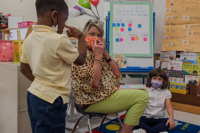 Students in Barb Anders' first-grade class on the first day of school at R.E. Davis College Preparatory Academy on Aug. 17, 2021.