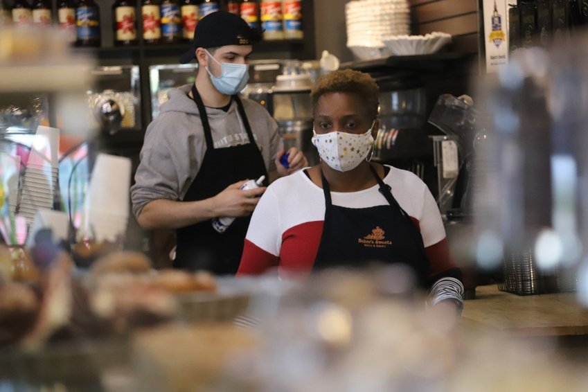 Jacqueline Dupree, general manager at Baker's Sweets, helps during the lunch rush at the restaurant on Alice Drive in Sumter in April 2020. Baker's Sweets is one of many businesses who are preparing for the upcoming holiday season.      FILE PHOTO KAREEM WILSON / THE SUMTER ITEM