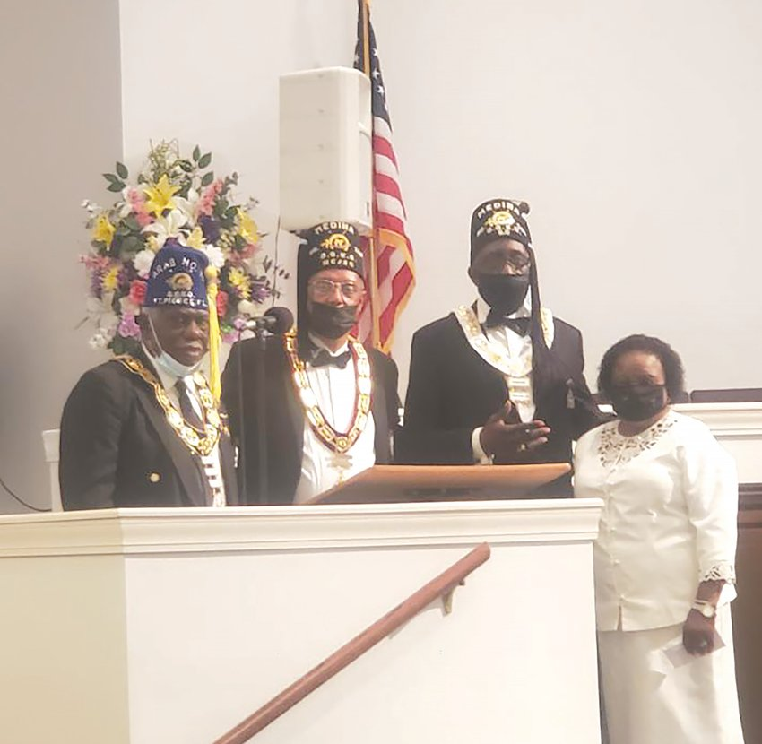 PHOTO PROVIDED  Worship was held for The Grand Lodge of the Knights of Pythias and Medina Temple No. 360 of the Dramatic Order Knights of Omar at Mt. Clair Baptist Church, Lake City, on Sept. 5, where the Rev. Reginald Elmore is the pastor.