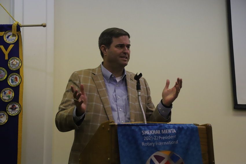State Rep. Murrell Smith, R-Sumter, gives a legislative update to the Sumter-Palmetto Rotary Club last Thursday.