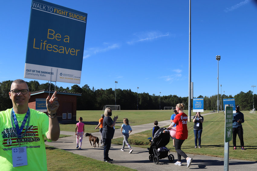 More than 150 people attended Sumter's inaugural Out of Darkness Walk for suicide prevention on Saturday at Patriot Park.
