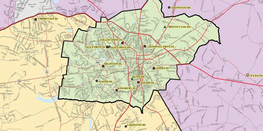 The downtown area is shown for current zones for Sumter's three high schools in the current realignment study. Detailed maps are available at sumterrealignment.com.