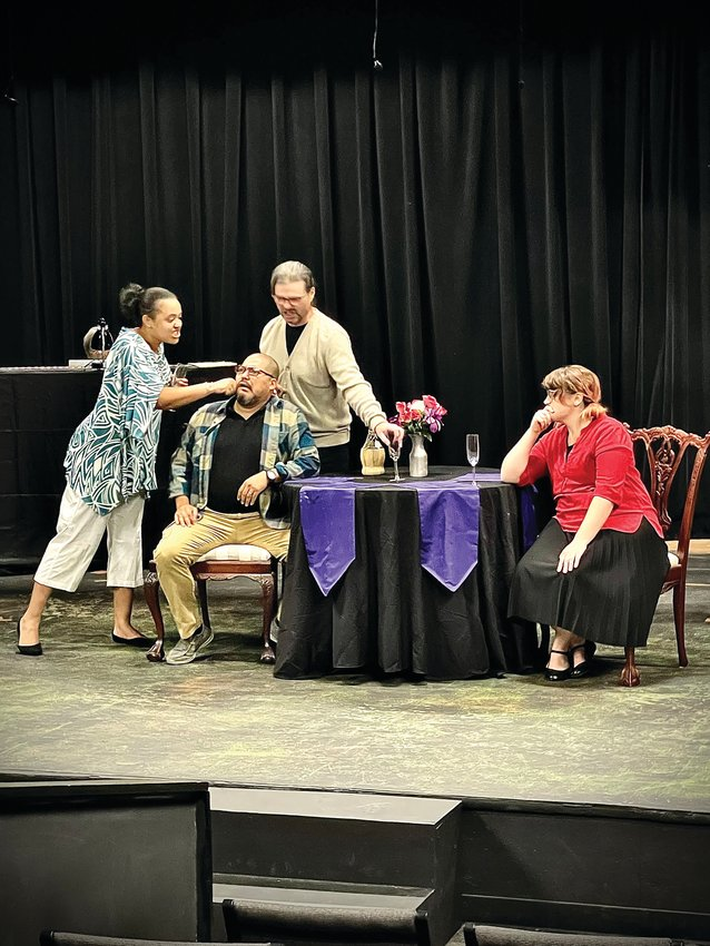 """Sumter Little Theatre opens """"I Love You, You're Perfect, Now Change"""" on Thursday. Shown in a recent rehearsal are, from left, cast members Cierra Stewart, Adrian Rios, Todd Warrick and Lexi Melton."""