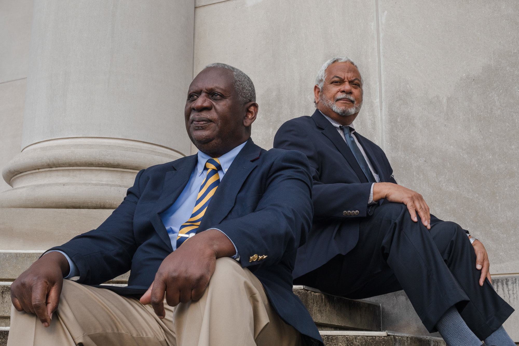 "Larry Blanding and Third Judicial Circuit Solicitor Ernest ""Chip"" Finney III sit outside the former Edmunds High School in Sumter. After full integration, the school was renamed Sumter High School, Haynsworth Street Campus. Both men graduated from the integrated Sumter High. What is now Patriot Hall served as the school's auditorium."