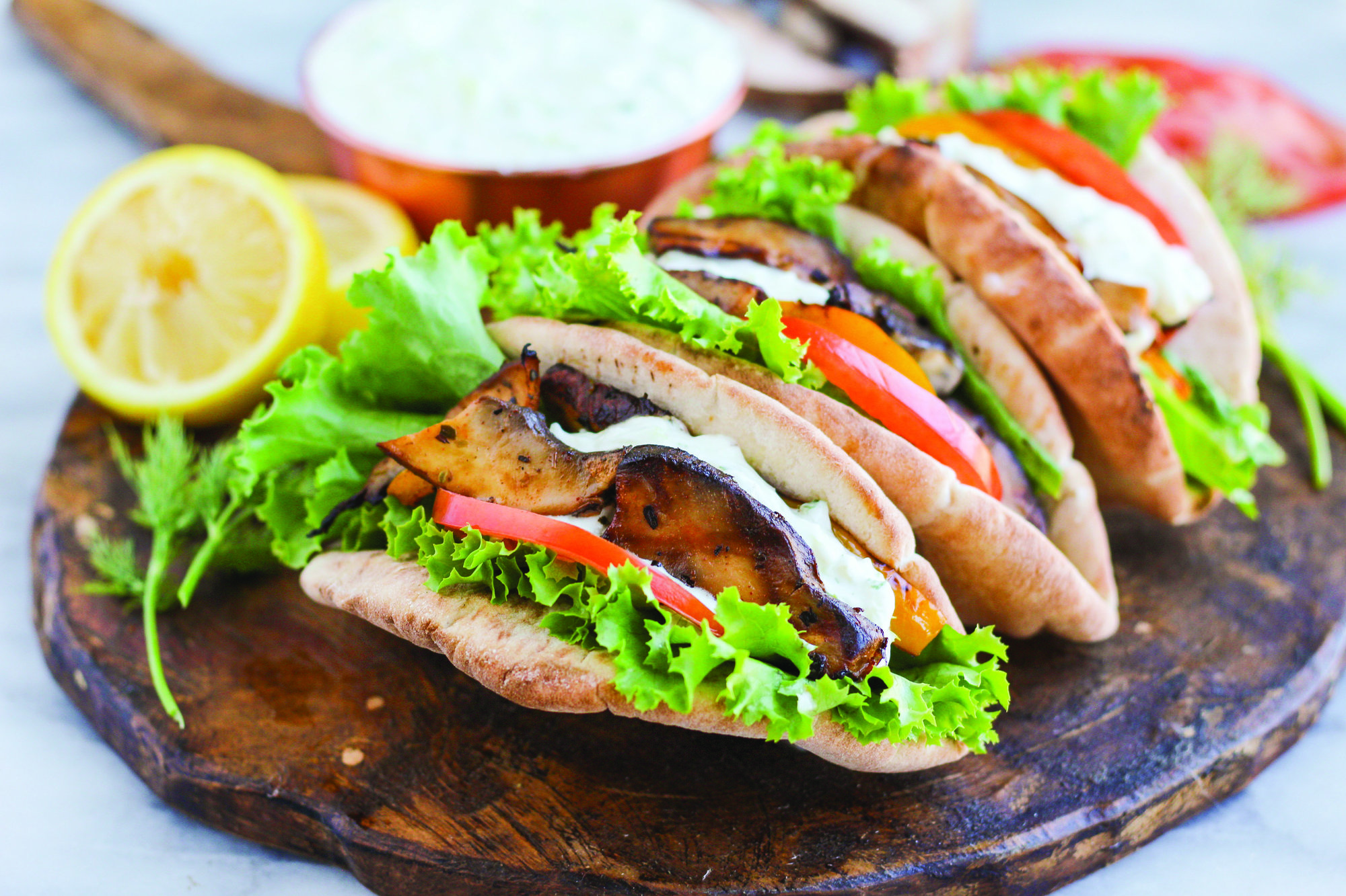 GRILLED PORTOBELLO GYROS WITH YOGURT DILL SAUCE