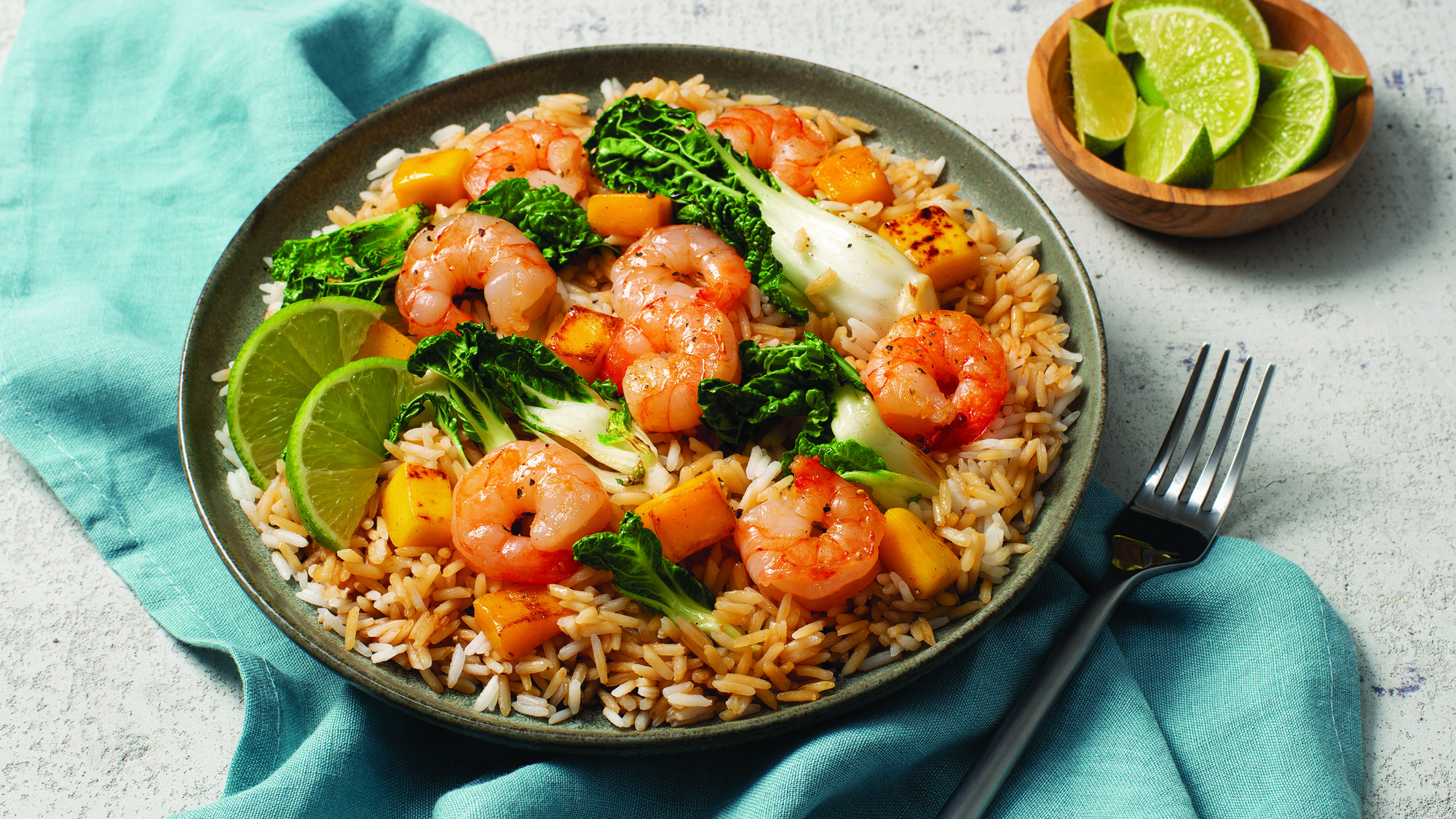 LIME-GINGER SHRIMP FRIED RICE