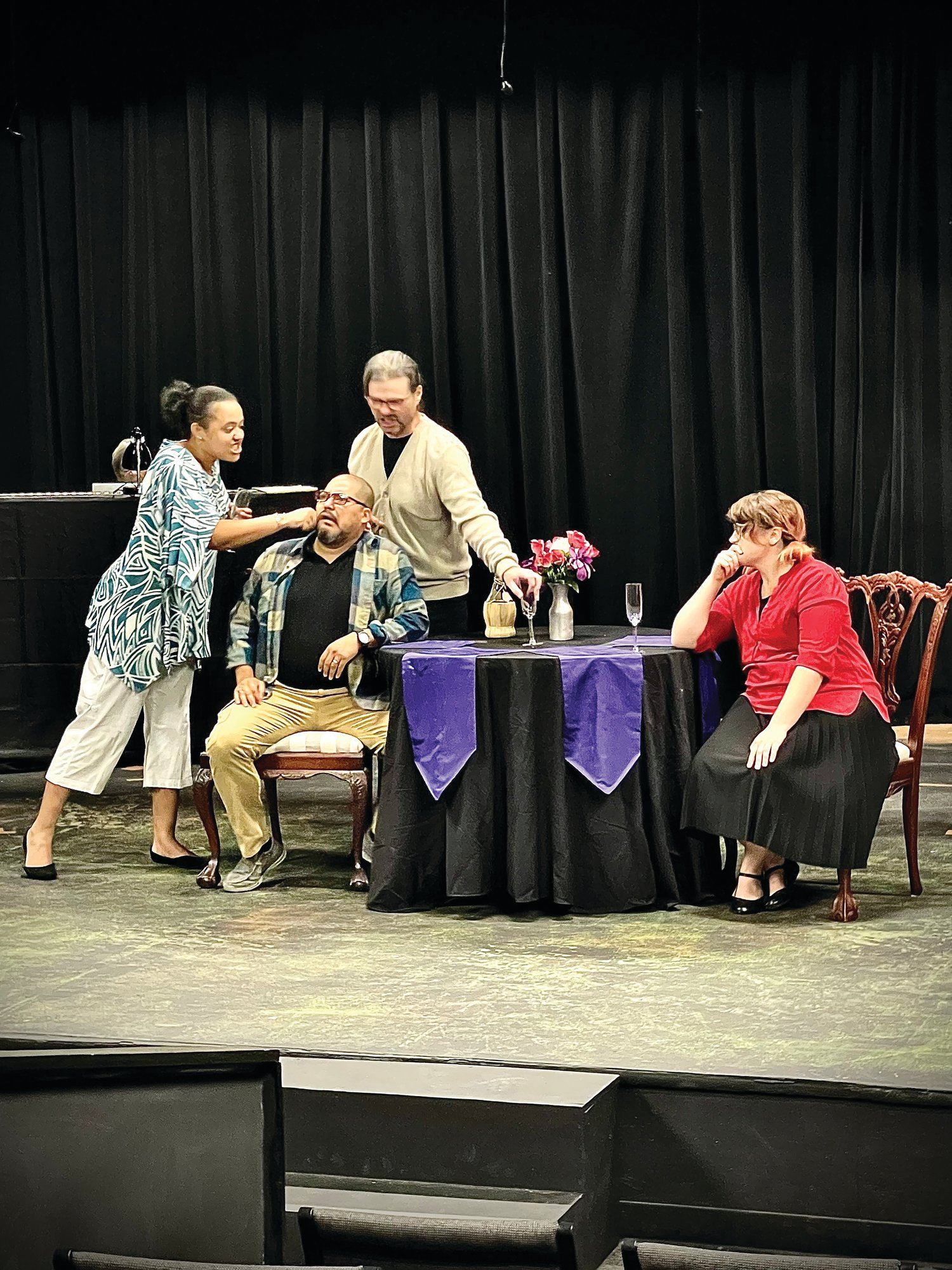 """Sumter Little Theatre opened """"I Love You, You're Perfect, Now Change"""" on Thursday. Shown in a recent rehearsal are, from left, cast members Cierra Stewart, Adrian Rios, Todd Warrick and Lexi Melton."""
