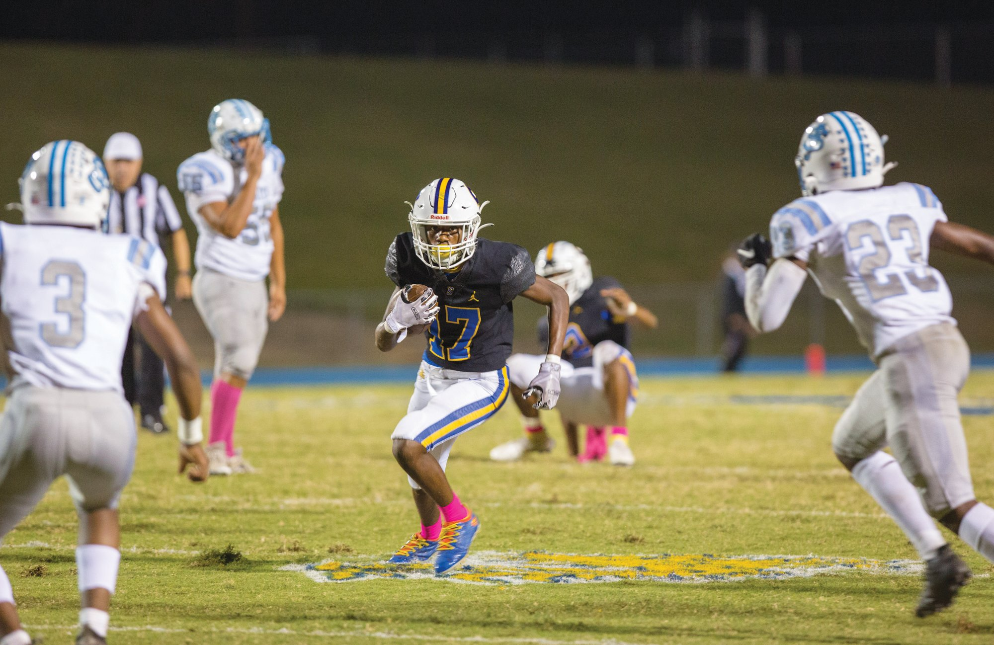 Sumter's Genesis Johnson (17) and the Gamecocks beat St. James 24-7 on Friday.
