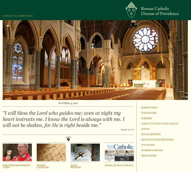 THE NEW WEB SITE: www.dioceseofprovidence.org, pictured above, offers visitors a fresh new look and updated information about the Diocese of Providence.