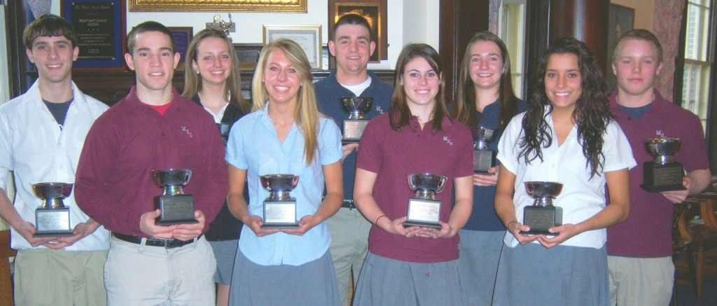 On March 27th, Mount St. Charles Academy celebrated the achievements of all its athletes for the Winter 2007-2008 season.  Students involved in sports during the winter season were honored with certificates, letters and other awards.  The highest award in each sport is given by the coaches to the person who best epitomizes a Mount athlete.  This year's Winter Sports MVP's front row, left to right: Boys' Hockey, John Guay; Girls' Indoor Track, Brianna Mastaj; Girls' Swimming, Stephanie Householder; Girls' Hockey, Denyse St. Germain, back row, left to right: Boys' Indoor Track, Matt Cottle; Outstanding Cheerleader, Katie Paquin; Boys' Basketball, Josh Lancellotti; Girls' Basketball, Nicole Turcotte; Boys' Swimming, Harrison Beauregard