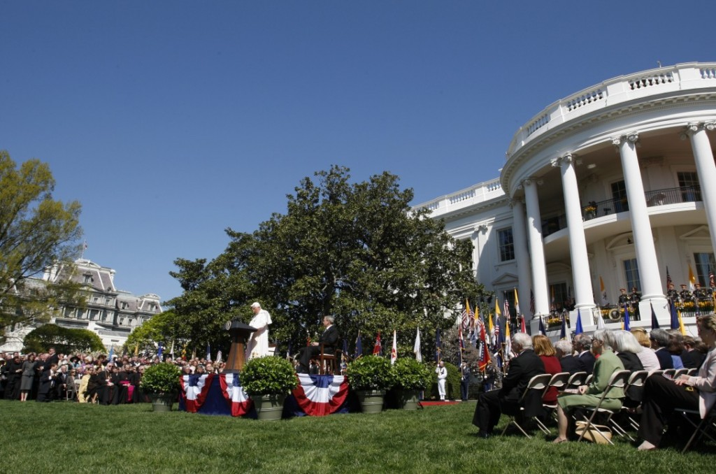 POPE ADDRESSES CROWD ON SOUTH LAWN:  Pope Benedict XVI gives an address during his visit to the White House in Washington April 16. The pontiff and president George W. Bush addressed a crowd of invited guests during a ceremony on the South Lawn.