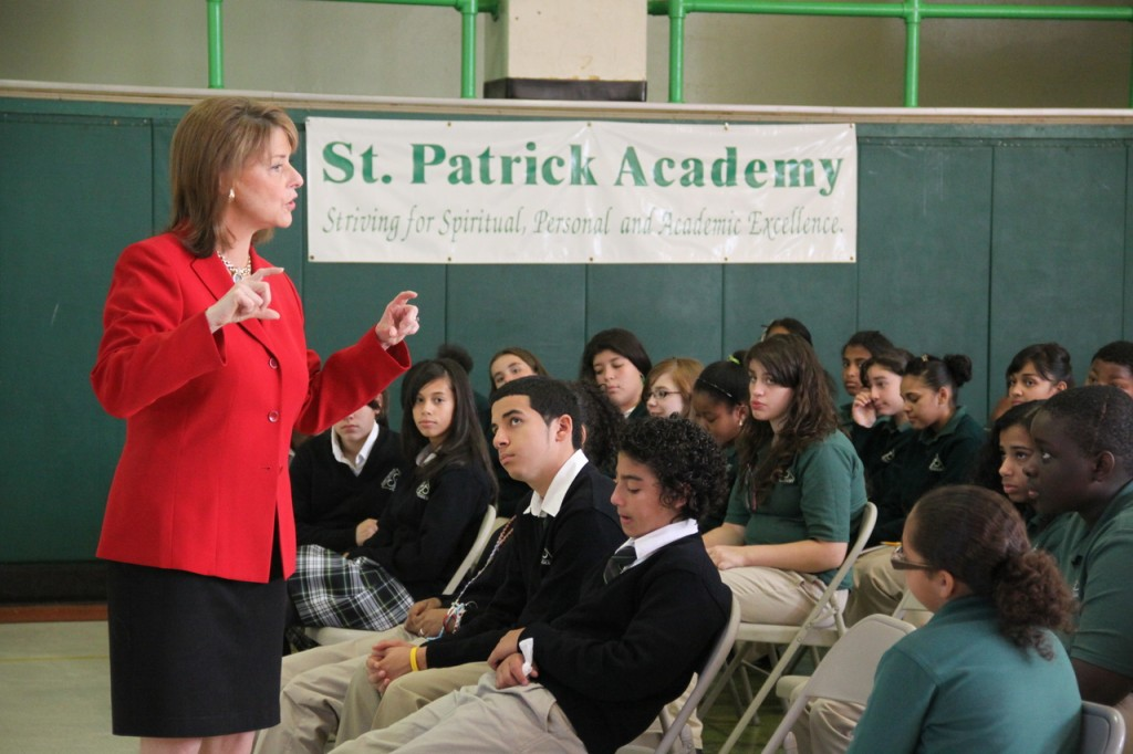 SPECIAL GUEST SPEAKER: Veteran Channel 10 broadcast news anchor Patrice Wood speaks to students at St. Patrick Academy in Providence last week about what it takes to be successful in today's workforce, including the importance of seeing whatever job they are doing through from start to finish, being honest and caring for their fellow man.