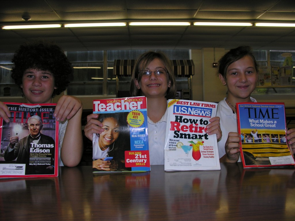 MAGAZINE DRIVE: The Greater Woonsocket Catholic Regional School System recently held its annual Magazine Drive. This year Good Shepherd Catholic Regional sold over $19,000 in subscriptions. Top sellers were, from left to right, 1st place Matthew Medeiros of Cumberland, 2nd place Kaitlyn Koller of Lincoln and 3rd place Julia Kaplan of Cumberland.