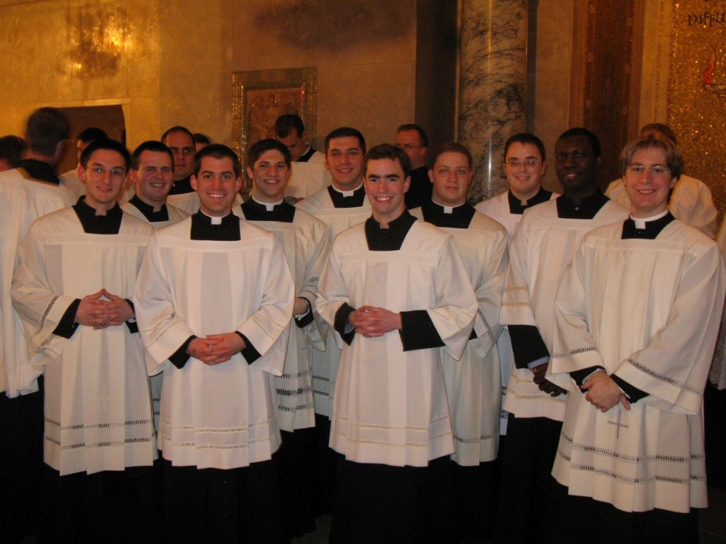 A show of faith: Seminarians from the Diocese of Providence gather before Mass celebrated at the Basilica of the National Shrine on the eve of the annual March for Life held Jan. 24 in Washington, D.C.