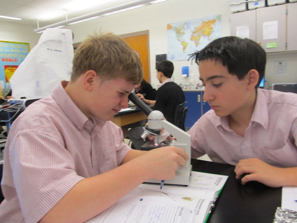 "YOUNG SCIENTISTS: St. Philip School, Greenville, eighth graders Shane Russo (left) and Noah DaSilva look for single-cell organisms as they study a challenging science unit entitled ""Diversity of Life."" The unit is part of an innovative new K-8 science curriculum that promotes collaboration and encourages students to become scientists by conducting experiments and finding answers to their own questions."
