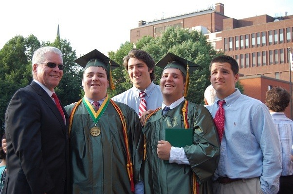 HENDRICKEN GRADS: Ed Pare, Tyler Pare, Eddie Pare, Zachary Pare, and Jake Pare celebrate the graduation of Hendricken High School at the Cathedral of Saints Peter and Paul.