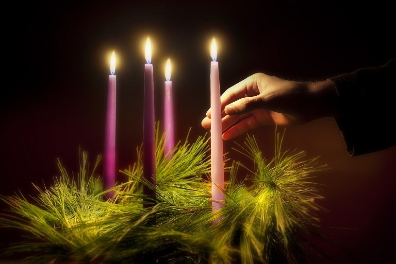 The season of Advent is a time of anticipation and hope before Christmas. The Advent wreath, with a lit candle marking each week of the season, is a traditional symbol of the period.