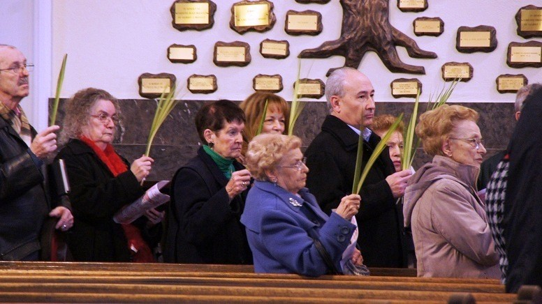 PALM SUNDAY: Parishioners of Saint John the Baptist Church in Pawtucket, hold up their palms for a blessing during the celebration of Palm Sunday Mass this past weekend.  Saint John the Baptist Church joined parishes throughout the world in celebrating Palm Sunday by distributing blessed palm fronds to commemorate Christ's triumphal entry into Jerusalem before his crucifixion. During holy week and throughout the Easter season during this Year of Faith, Catholics are called to use this time in prayer and reflection to strengthen their faith through the sacrifice and resurrection of Jesus.