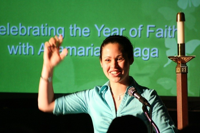 FAITH: Anamaria Arteaga, who will enter her sophomore year this fall at Salve Regina University, was the guest speaker at the event. During the witness talk Arteaga discussed her first year at college and shared the joys and challenges she experienced. She encouraged the attendees to let their faith blossom in their life and make God the priority.