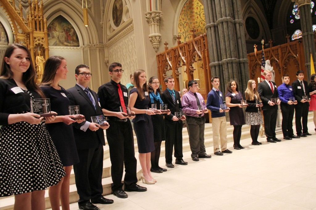 Recipients of the St. Timothy Award, a national award given annually in the diocese to outstanding juniors and seniors in high school or early college years, who set a positive example for others, exhibit Catholic morals and integrity, demonstrate Gospel values through service to others and exhibit Christian leadership in their parish, school and community.