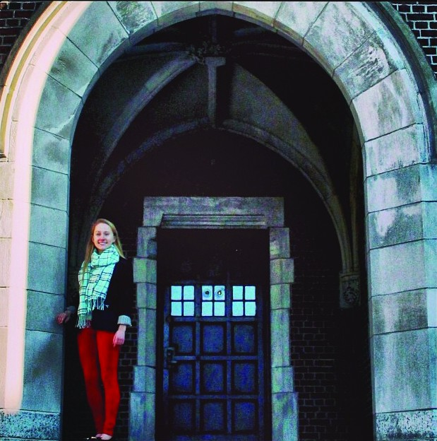 LIFE ON CAMPUS: Joy Loftus, a 10th grader, stands outside St. Benet?s dormitory at Portsmouth Abbey, and reflects on the unique experience of attending the Rhode Island boarding school.