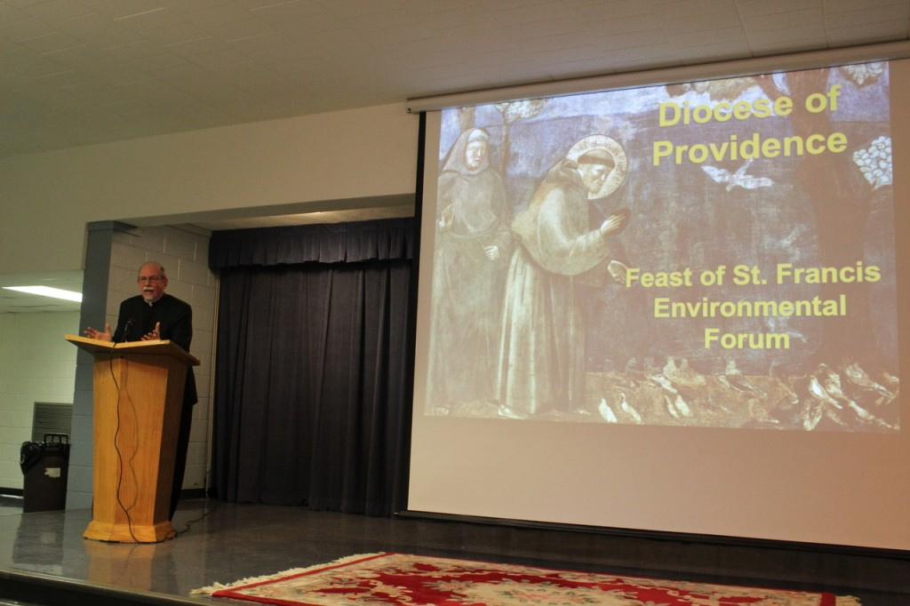 """RESPECTING MOTHER EARTH: Father Henry Bodah, pastor of St. Francis of Assisi in Wakefield, gave the keynote speech at the Diocese of Providence?s Office of Life and Family environmental forum. He cited Bible verses, highlighting the importance of respecting """"Mother Earth."""""""