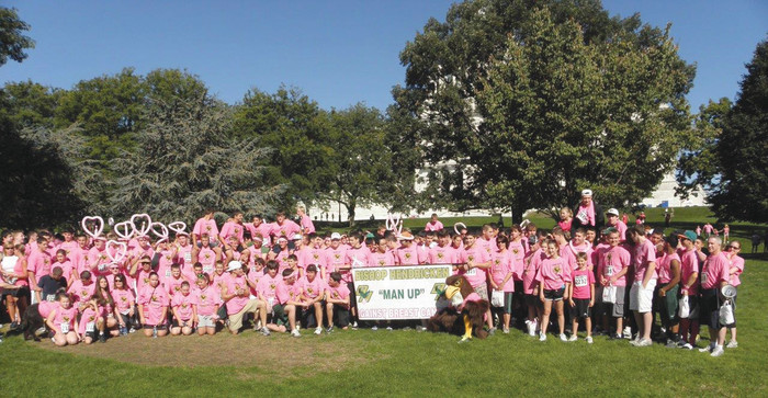 """MANNING UP: For the past 6 years Bishop Hendricken High School has been actively supporting the mission of the Gloria Gemma Breast Cancer Foundation with their """"Man-Up"""" initiative. They have raised $148,000 to support the programs and resources offered by Gloria Gemma. This year """"Man-Up"""" is participating in the run/walk series as part of Flames of Hope: A Celebration of Life™ on October 2."""