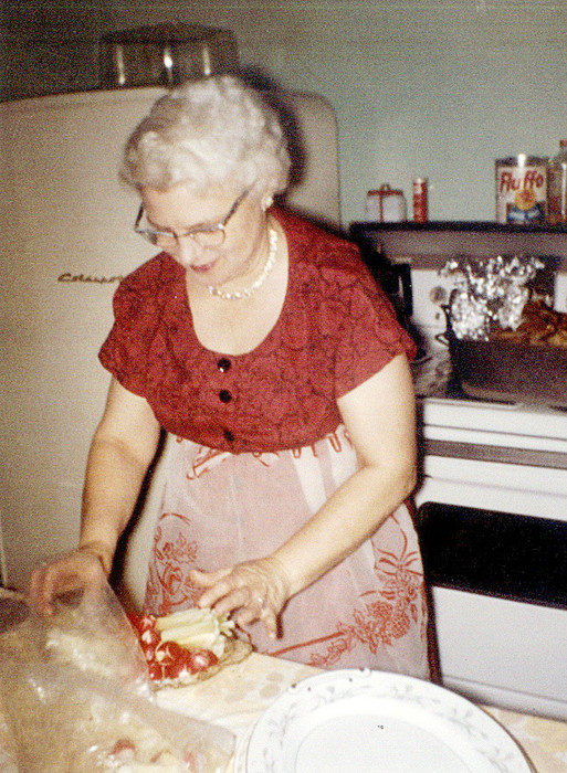 Holiday Memories: Mom in the kitchen where she made her Christmas cookies, in 1962.
