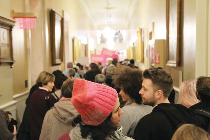 CONTROVERSIAL LEGISLATION: Many protesters calling for changes to R.I. abortion law at a pro-choice rally, fill the hallways of the State House last week. Legislators are currently considering a bill that, if passed, would radically alter abortion law in the state.