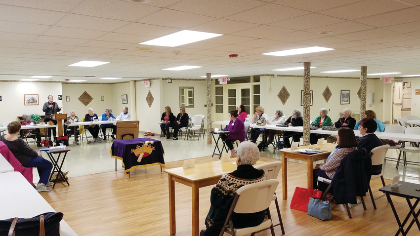 Speaker Andrea Smith presents to the Daughters of Isabella at their monthly meeting.