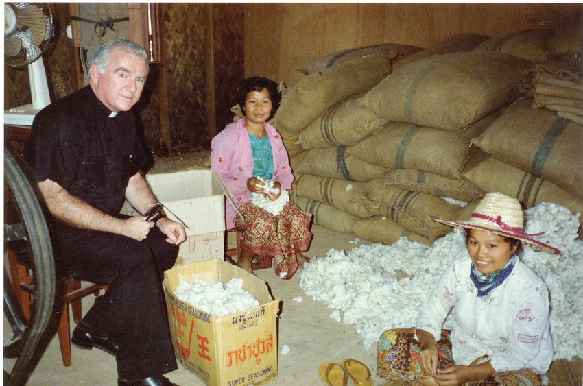 As bishop of Wilmington, Bishop Robert E. Mulvee served six years on the bishops' board to Catholic Relief Services, which led him to many exotic and impoverished places around the world. Whether visiting Mother Teresa in Calcutta or the farmers and their children in Vietnam, Bishop Mulvee said he had a profound appreciation for the many blessings we have in this country and the great need in others. Above, Bishop Mulvee in Hanoi, Vietnam in 1986.