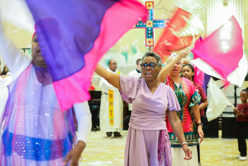 Liturgical dancers participate in the July 6, 2019, closing Mass for the Archbishop Lyke Conference, which celebrates the gifts that African American Catholics bring to liturgies and ministries. The annual gathering, named for the late Atlanta Archbishop James Lyke, was held July 2-6 in National Harbor, Md.