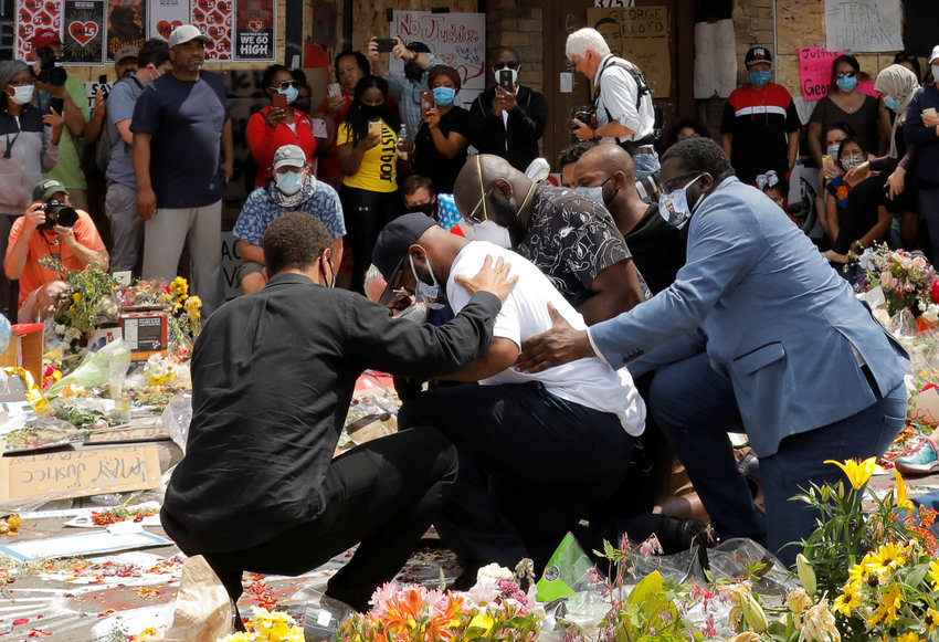 Terrence Floyd, the brother of George Floyd, reacts at a makeshift memorial at the spot where he was taken into custody in Minneapolis June 1, 2020. Demonstrations continue after a white police officer was caught on a bystander's video May 25 pressing his knee into the neck of George Floyd, an African American, who later died at a hospital.