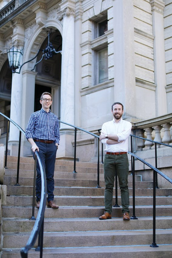 John Clarke, 28, left, and Scott Thompson, 28, run the Catholic publishing firm Cluny Media. The two Providence College alums and parishioners of St. Pius V Church, are dedicated to re-publishing books in the Catholic literary and intellectual traditions that have fallen out-of-print with the large publishers.
